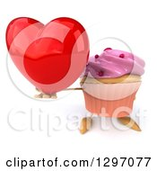 Clipart Of A 3d Pink Frosted Cupcake Character Holding Up A Heart Royalty Free Illustration by Julos
