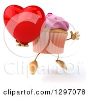 Clipart Of A 3d Pink Frosted Cupcake Character Facing Right Jumping And Holding A Heart Royalty Free Illustration by Julos