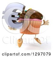 Clipart Of A 3d Chocolate Frosted Cupcake Character Facing Right Jumping And Holding A Euro Symbol Royalty Free Illustration by Julos