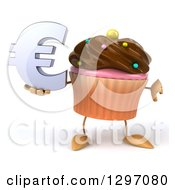 Clipart Of A 3d Chocolate Frosted Cupcake Character Holding A Thumb Down And Euro Symbol Royalty Free Illustration by Julos