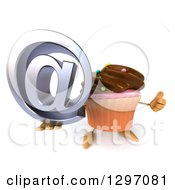Clipart Of A 3d Chocolate Frosted Cupcake Character Holding Up An Email Symbol And Thumb Royalty Free Illustration by Julos