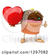 Clipart Of A 3d Chocolate Frosted Cupcake Character Holding A Heart And Thumb Up Royalty Free Illustration by Julos