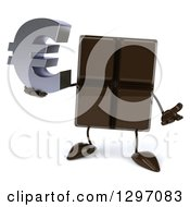 Clipart Of A 3d Chocolate Candy Bar Character Shrugging And Holding A Euro Symbol Royalty Free Illustration