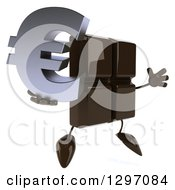 Clipart Of A 3d Chocolate Candy Bar Character Facing Right Jumping And Holding A Euro Symbol Royalty Free Illustration