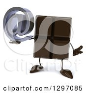Clipart Of A 3d Chocolate Candy Bar Character Shrugging And Holding An Email Arobase At Symbol Royalty Free Illustration
