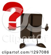 Clipart Of A 3d Chocolate Candy Bar Character Giving A Thumb Up And Holding A Question Mark Royalty Free Illustration