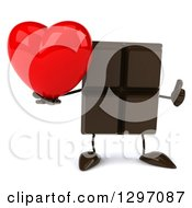 Clipart Of A 3d Chocolate Candy Bar Character Giving A Thumb Up And Holding A Love Heart Royalty Free Illustration