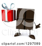 Clipart Of A 3d Chocolate Candy Bar Character Shrugging And Holding A Gift Royalty Free Illustration