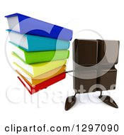 Clipart Of A 3d Chocolate Candy Bar Character Holding Up A Stack Of Books Royalty Free Illustration