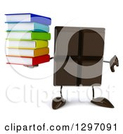 Clipart Of A 3d Chocolate Candy Bar Character Giving A Thumb Down And Holding A Stack Of Books Royalty Free Illustration