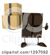 Clipart Of A 3d Chocolate Candy Bar Character Giving A Thumb Up And Holding Boxes Royalty Free Illustration