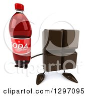 Clipart Of A 3d Chocolate Candy Bar Character Holding Up A Soda Bottle Royalty Free Illustration