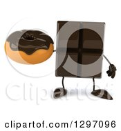 Clipart Of A 3d Chocolate Candy Bar Character Holding A Donut Royalty Free Illustration
