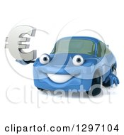 Clipart Of A 3d Blue Porsche Car Holding A Euro Currency Symbol Royalty Free Illustration by Julos