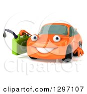 Clipart Of A 3d Orange Porsche Car Character Facing Slightly Left And Holding A Gas Can Royalty Free Illustration