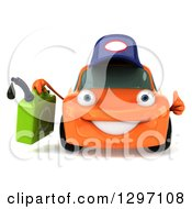 Clipart Of A 3d Orange Porsche Car Mechanic Character Giving A Thumb Up And Holding A Gas Can Royalty Free Illustration