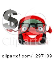 Clipart Of A 3d Red Bespectacled Compact Car Holding A Thumb Up And Dollar Symbol Royalty Free Illustration