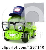 Clipart Of A 3d Bespectacled Lime Green Compact Car Mechanic Holding A Blank Sign Royalty Free Illustration by Julos