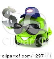 Clipart Of A 3d Bespectacled Lime Green Compact Car Mechanic Wearing Sunglasses Giving A Thumb Up And Holding A Dollar Symbol Royalty Free Illustration