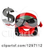 Clipart Of A 3d Red Compact Car Wearing Sunglasses Holding A Thumb Up And Dollar Symbol Royalty Free Illustration