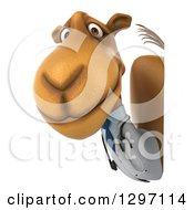 Clipart Of A 3d Doctor Camel Looking Around A Sign And Facing Left Royalty Free Illustration