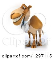 Clipart Of A 3d Doctor Camel Smiling Around A Sign And Facing Left Royalty Free Illustration