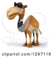 Clipart Of A 3d Business Camel Wearing Shades And Facing Left Royalty Free Illustration