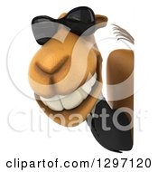 Clipart Of A 3d Business Camel Facing Left And Wearing Shades Around A Sign Royalty Free Illustration