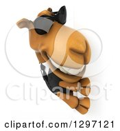 Clipart Of A 3d Business Camel Facing Right And Wearing Shades Around A Sign Royalty Free Illustration