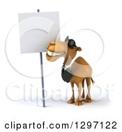 Clipart Of A 3d Business Camel Wearing Shades And Looking Up At A Blank Sign Royalty Free Illustration