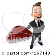 Clipart Of A 3d Happy Young White Businessman Holding Up A Beef Steak Royalty Free Illustration