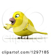 Clipart Of A 3d Happy Yellow Bird Facing Left And Shrugging Royalty Free Illustration