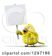 Clipart Of A 3d Happy Yellow Bird Facing Slightly Left Holding And Pointing To A Blank Sign Royalty Free Illustration