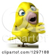Clipart Of A 3d Full Length Happy Yellow Bird Pointing Around A Sign Royalty Free Illustration