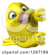 Clipart Of A 3d Happy Yellow Bird Looking Around A Sign Royalty Free Illustration