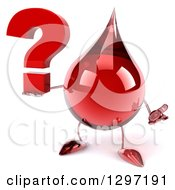 Clipart Of A 3d Hot Water Or Blood Drop Character Shrugging And Holding A Question Mark Royalty Free Illustration