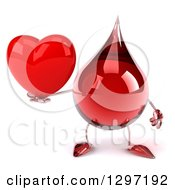 Clipart Of A 3d Hot Water Or Blood Drop Character Holding A Red Heart Royalty Free Illustration