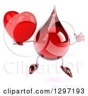 Clipart Of A 3d Hot Water Or Blood Drop Character Jumping And Holding A Red Heart Royalty Free Illustration