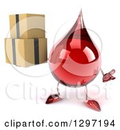 Clipart Of A 3d Hot Water Or Blood Drop Character Shrugging And Holding Boxes Royalty Free Illustration