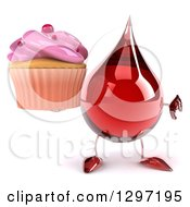 Clipart Of A 3d Hot Water Or Blood Drop Character Holding A Cupcake And A Thumb Down Royalty Free Illustration
