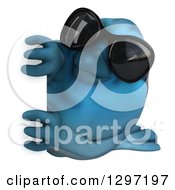 Clipart Of A 3d Bluebird Wearing Sunglasses Facing Left And Looking Around A Sign Royalty Free Illustration
