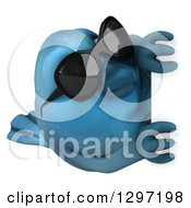 Clipart Of A 3d Bluebird Wearing Sunglasses Facing Right And Looking Around A Sign Royalty Free Illustration by Julos
