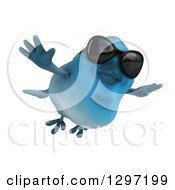 Clipart Of A 3d Bluebird Wearing Sunglasses And Flying Slightly Right Royalty Free Illustration