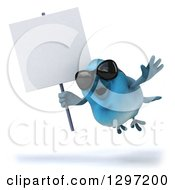 Clipart Of A 3d Bluebird Wearing Sunglasses And Flying Slightly Left With A Blank Sign Royalty Free Illustration