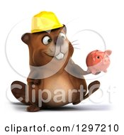 Clipart Of A 3d Happy Construction Beaver Walking With A Piggy Bank Royalty Free Illustration