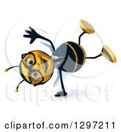 Clipart Of A 3d Happy Bespectacled Business Bee Cartwheeling Royalty Free Illustration