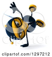 Clipart Of A 3d Happy Bespectacled Business Bee Facing Right And Cartwheeling Royalty Free Illustration