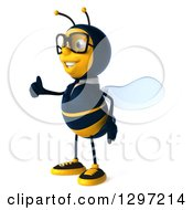 Clipart Of A 3d Happy Bespectacled Business Bee Facing Left And Giving A Thumb Up Royalty Free Illustration