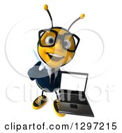 Clipart Of A 3d Happy Bespectacled Business Bee Holding Up A Thumb And A Laptop Royalty Free Illustration