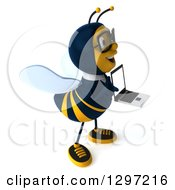 Clipart Of A 3d Happy Bespectacled Business Bee Facing Right And Holding A Laptop Royalty Free Illustration